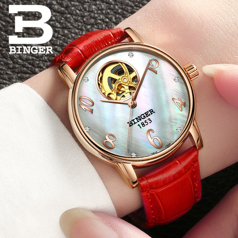 Image of Binger Swiss Tourbillon Mechanical Women Watch B 553