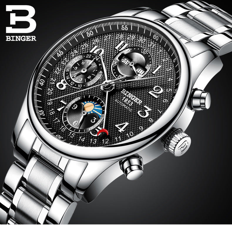 Binger Swiss Moon Phase Mechanical Watch Men B 603-8