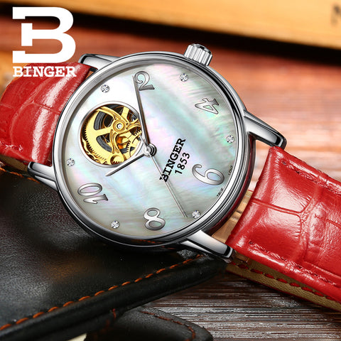 Binger Swiss Tourbillon Mechanical Women Watch B 553