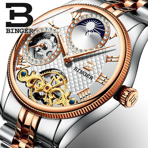 Binger Swiss Unique Mechanical Watch Men B 1175