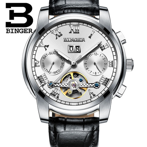 Binger Swiss Sapphire Tourbillon Watch Men B 8601