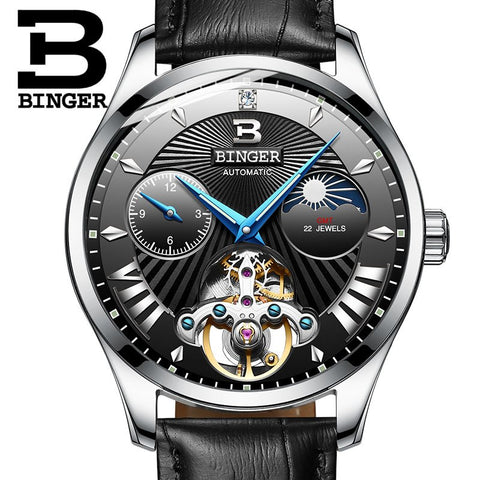 Image of Binger Swiss 22 jewels Tourbillon Mechanical Men Watch B 1186