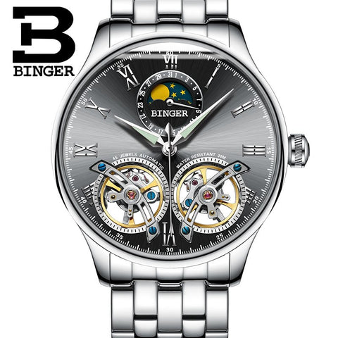 Binger Swiss Double Tourbillon Elegant Mechanical Watch Men B 8606 A