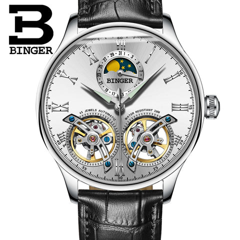 Image of Binger Swiss Double Tourbillon Elegant Mechanical Watch Men B 8606 A