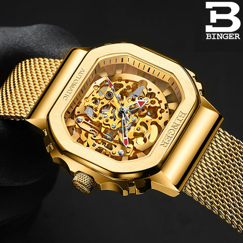 Binger Swiss Ultra Luxury Skeleton Tourbillon Men Watch B 10008