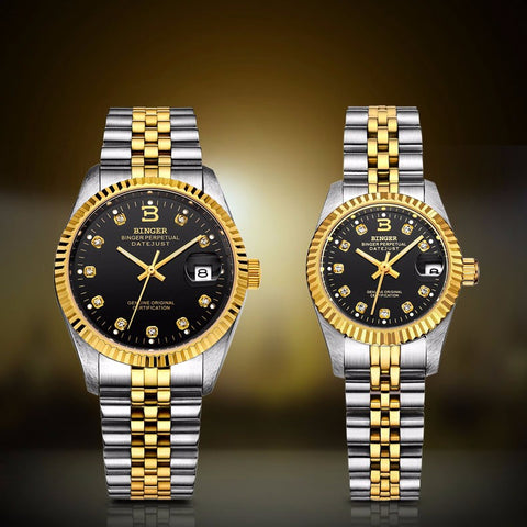 Image of Binger Swiss Striped Mechanical Couple Watch BS169CG