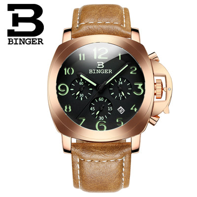 Binger Swiss Luminous Quartz Watch Men B 9015