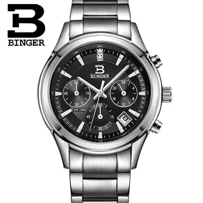 Binger Swiss Alpha Quartz Watch Men B 6019