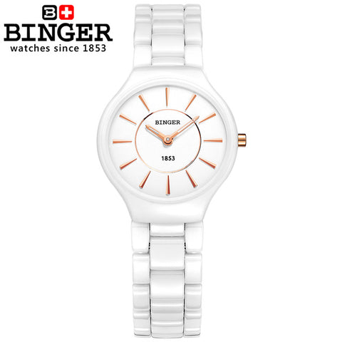 Binger Swiss Ceramic Ultra Slim Quartz Watch Women B 8006
