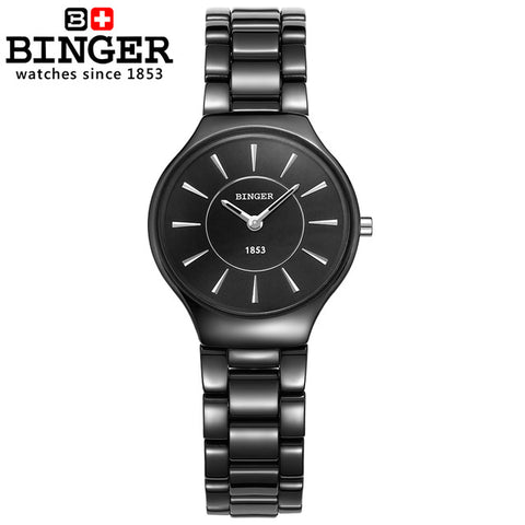 Image of Binger Swiss Ceramic Ultra Slim Quartz Watch Women B 8006