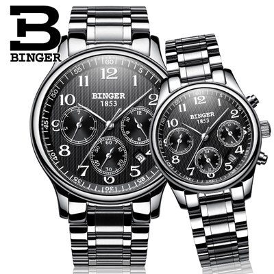 Image of Binger Swiss Sapphire Mechanical Couple Watch BS603CS