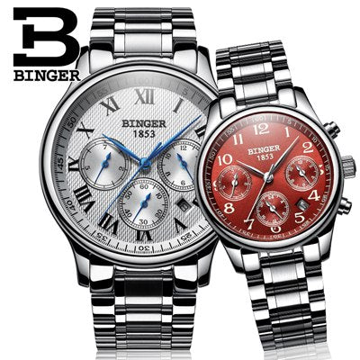 Binger Swiss Sapphire Mechanical Couple Watch BS603CS