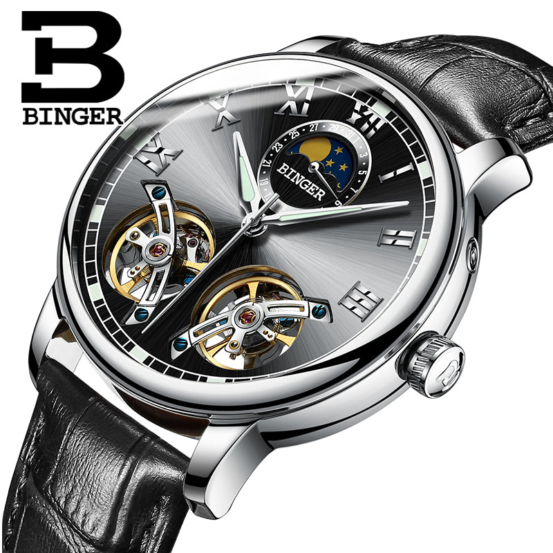 Binger Swiss Double Tourbillon Mechanical Watch Men B 8607