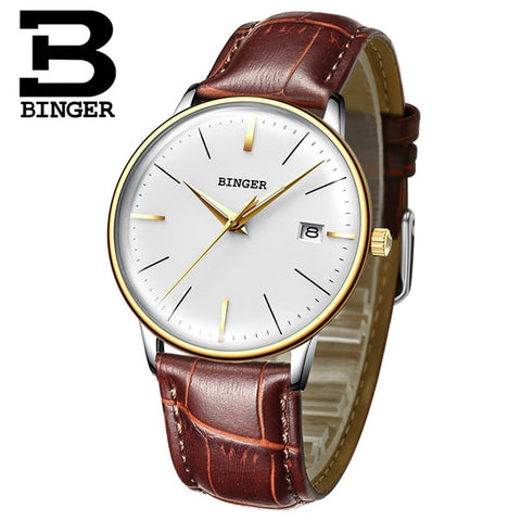 Image of Binger Swiss Vintage Cambered Dial Mechanical Watch Men B 5078