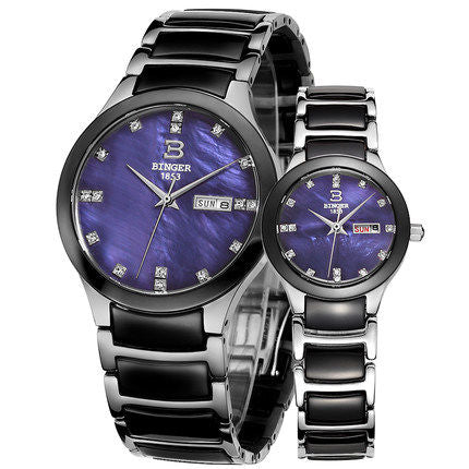 Binger Swiss Ceramic Quartz Couple Watch BS236CC