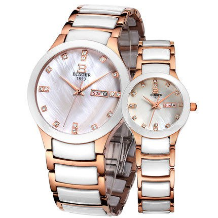 Binger Swiss Ceramic Quartz Couple Watch BS236CD