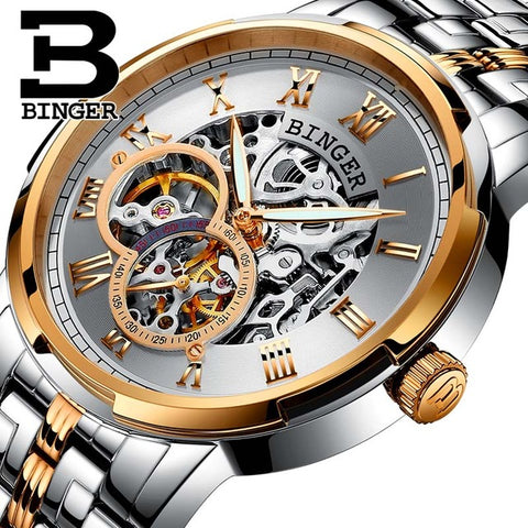 Binger Swiss Skeleton Mechanical Men's Watch B 5036