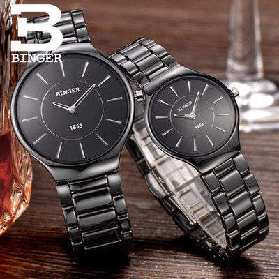 Binger Swiss Ceramic Quartz Couple Watch BS8006CB