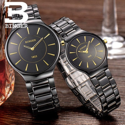 Image of Binger Swiss Ceramic Quartz Couple Watch BS8006CB