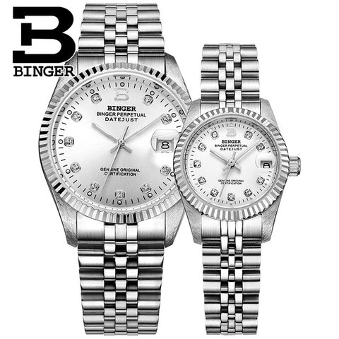 Image of Binger Swiss Striped Mechanical Couple Watch BS169CF