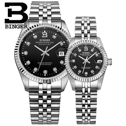 Binger Swiss Striped Mechanical Couple Watch BS169CF