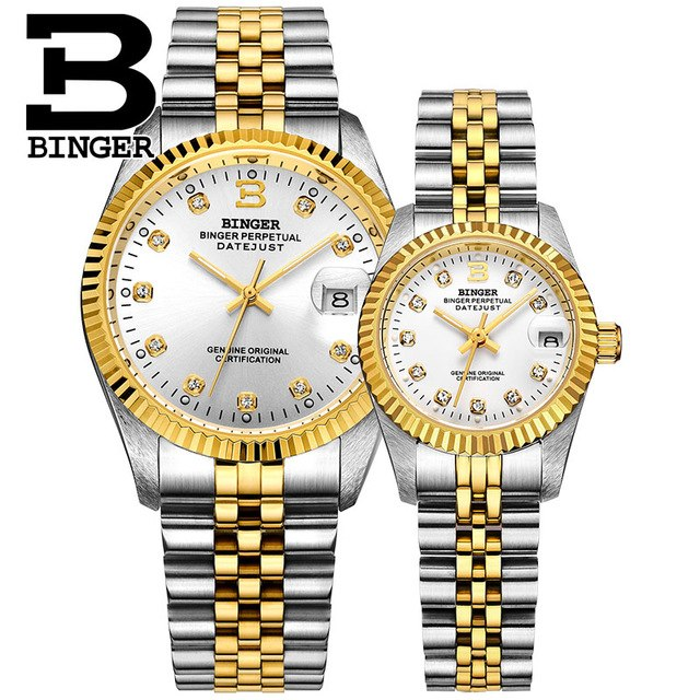 Binger Swiss Striped Mechanical Couple Watch BS169CG