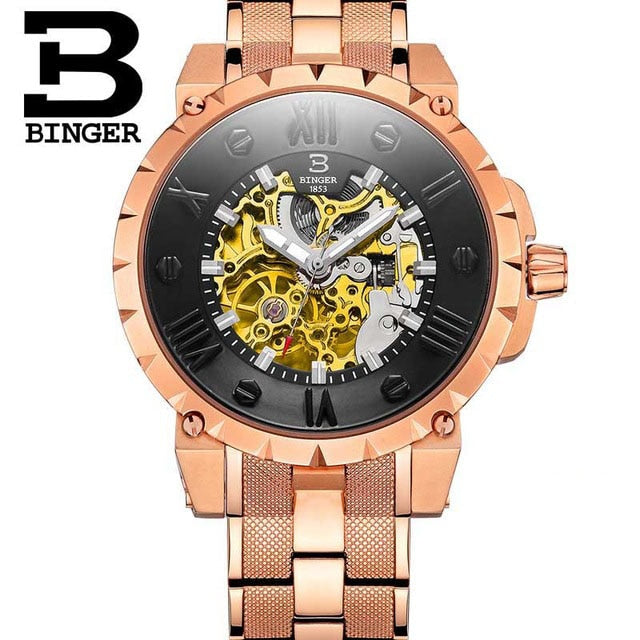 Binger Swiss Skeleton Robust Mechanical Watch B 5032