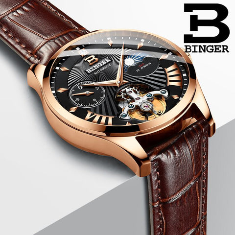 Binger Swiss 22 jewels Tourbillon Mechanical Men Watch B 1186