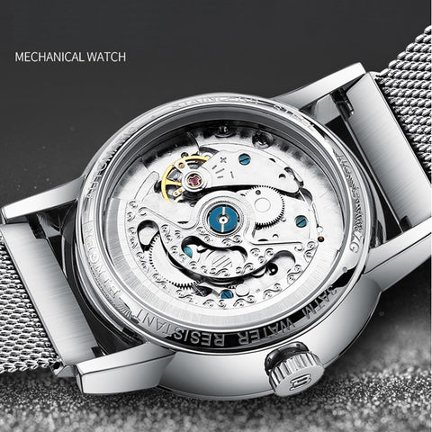 Binger Swiss Sapphire Curved Mechanical Watch Men B 1187