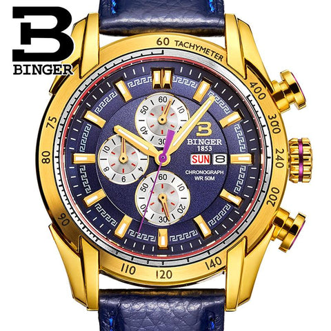 Binger Swiss Chronograph Quarz Watch Men B 1163
