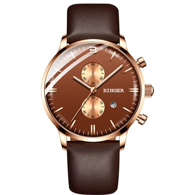 Binger Swiss Chronograph Quartz Watch Men B 1212