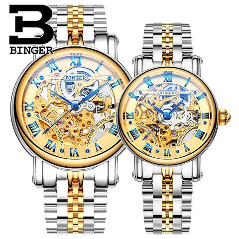 Image of Binger Swiss Hollow Mechanical Couple Watch BS5066HC