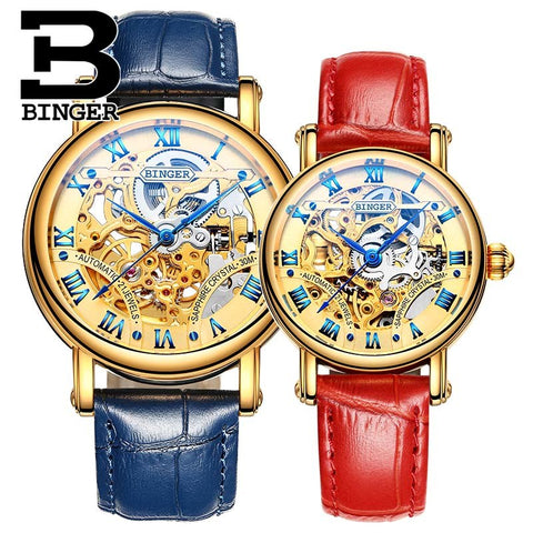 Binger Swiss Hollow Mechanical Couple Watch BS5066HC