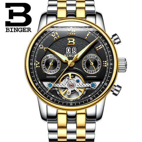 Binger Swiss Sapphire Tourbillon Watch Men B 8603