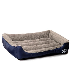 Deluxe Dog Bed - Superior Quality, Comfortable, Waterproof Backing - navy blue