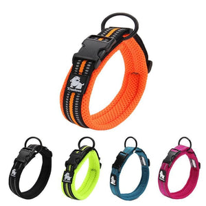 Ultimate Dog Collar - Padded, All Weather, Reflective, Steel Ring, Quick Release Buckle - All