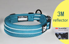 Load image into Gallery viewer, Ultimate Dog Collar - Padded, All Weather, Reflective, Steel Ring, Quick Release Buckle - Blue