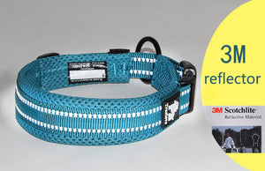 Ultimate Dog Collar - Padded, All Weather, Reflective, Steel Ring, Quick Release Buckle - Blue