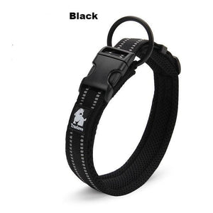 Ultimate Dog Collar - Padded, All Weather, Reflective, Steel Ring, Quick Release Buckle - Black