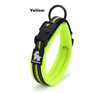 Ultimate Dog Collar - Padded, All Weather, Reflective, Steel Ring, Quick Release Buckle - Yellow