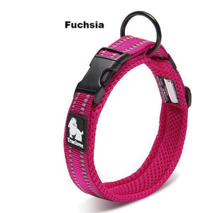 Ultimate Dog Collar - Padded, All Weather, Reflective, Steel Ring, Quick Release Buckle - Fuchsia