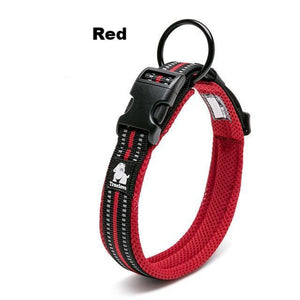 Ultimate Dog Collar - Padded, All Weather, Reflective, Steel Ring, Quick Release Buckle - Red