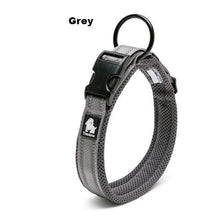 Load image into Gallery viewer, Ultimate Dog Collar - Padded, All Weather, Reflective, Steel Ring, Quick Release Buckle - Gray