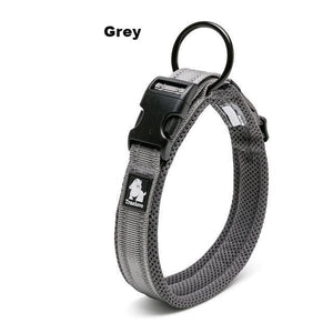 Ultimate Dog Collar - Padded, All Weather, Reflective, Steel Ring, Quick Release Buckle - Gray