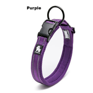 Ultimate Dog Collar - Padded, All Weather, Reflective, Steel Ring, Quick Release Buckle - Purple