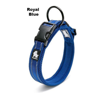Ultimate Dog Collar - Padded, All Weather, Reflective, Steel Ring, Quick Release Buckle - Royal Blue