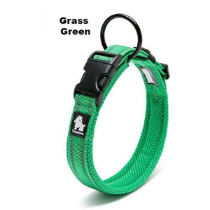 Ultimate Dog Collar - Padded, All Weather, Reflective, Steel Ring, Quick Release Buckle - Green