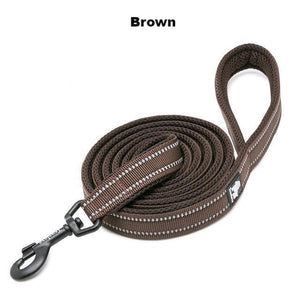 "Ultimate Dog Leash - 110cm  - 43.3"" - All Weather, Reflective - Soft handle - brown"