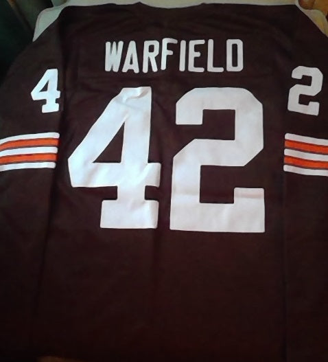 Paul Warfield Long Sleeve Cleveland Browns Throwback Football Jersey (In-Stock-Closeout) Size 2XL/52 Inch Chest