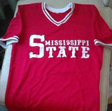 Rafael Palmeiro Red Mississippi State Style Baseball Jersey (In-Stock-Closeout) Size Large / 44 Inch Chest
